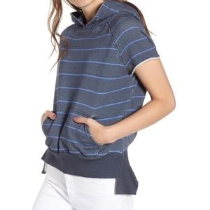 TEE LAB blue striped short sleeve hoodie